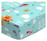 SheetWorld Fitted Square Playard Sheet (Fits Joovy) - Pooh & Friends Aqua - Made In USA - 37.5 inches x 37.5 inches (95.25 cm x 95.25 cm)