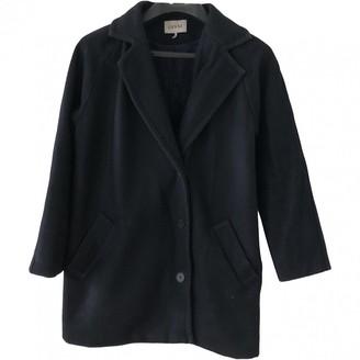 Ganni Navy Wool Coat for Women