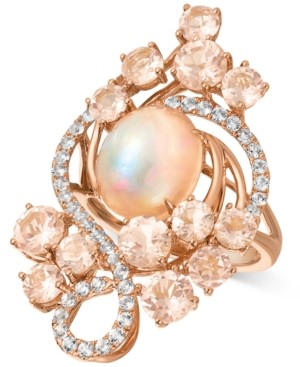 LeVian Le Vian Crazy Collection Neapolitan Opal (2-1/2 ct. t.w.), Peach Morganite (3-2/5 ct. t.w.), and Vanilla Topaz (7/10 ct. t.w.) Ring in 14k Rose Gold, Created for Macy's