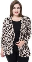 Chicwe Women's Waterfall Front Plus Size Jacket Blouse XL, Beige
