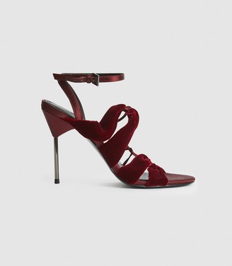 Reiss MONROE VELVET PIN-HEEL SANDALS Plum