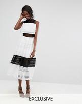 Boohoo Lace Mesh Overlay Midi Dress