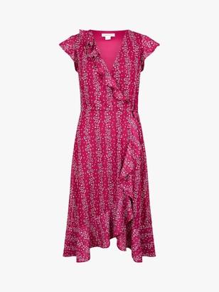 Monsoon Fergie Ruffle Wrap Floral Midi Dress, Pink
