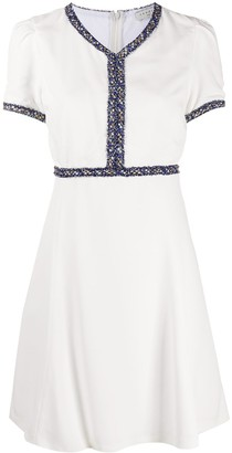 Sandro Paris Fringed Trim Skater Dress