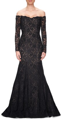 La Femme Off the Shoulder Long Sleeve Lace Gown