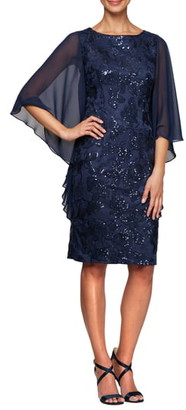 Alex Evenings Sequin Chiffon Sleeve Sheath Dress
