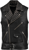 McQ by Alexander McQueen Studded textured-leather biker jacket