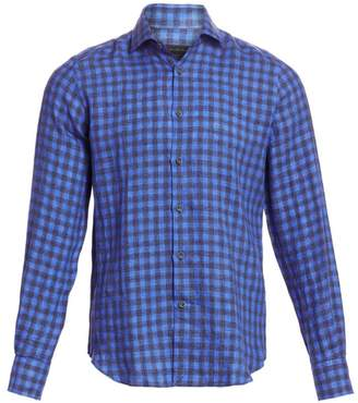 Saks Fifth Avenue Linen Cotton Gingham Sport Shirt