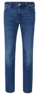 HUGO BOSS Regular-fit jeans in mid-blue comfort-stretch denim