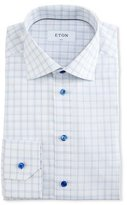 Eton Slim-Fit Box Check Dress Shirt, White/Blue