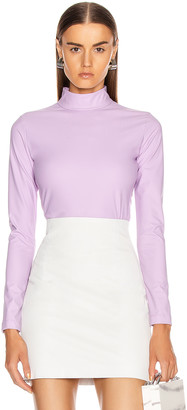 Tibi Scuba Mock Neck Bodysuit in Mulberry | FWRD