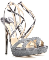 Jimmy Choo Memento Liddie 145 Leather And Glitter Sandals