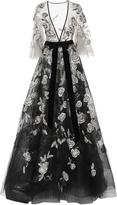 Marchesa Flutter Sleeve Embellished Ball Gown
