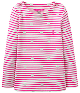 Joules Little Joule Girls' Stripe Spot Print T-Shirt, True Pink