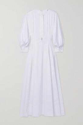 OSCAR DE LA RENTA - Pearl-embellished Pintucked Cotton-blend Poplin Midi Dress - White