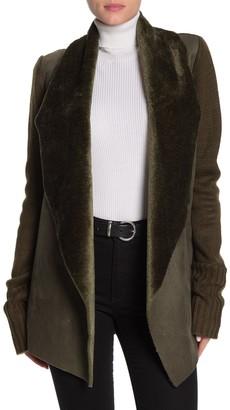 CENY Faux Fur Shawl Collar Cardigan