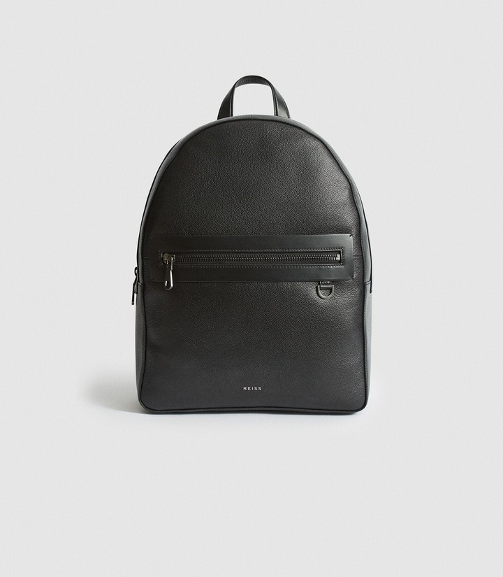 Reiss Ethan - Leather Backpack in Black