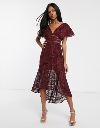 Asos Design DESIGN flutter sleeve midi dress in corded lace with circle trim detail-Red
