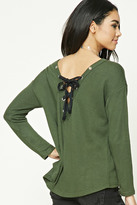 Forever 21 FOREVER 21+ Lace-Up Sweatshirt