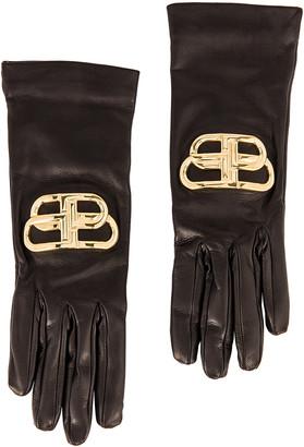 Balenciaga Giant BB Gloves in Black & Gold | FWRD