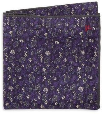 Isaia Floral Wool & Silk Pocket Square