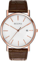 Bulova Men's Brown Leather Strap Watch 37mm 98H51