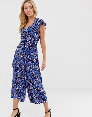 ASOS DESIGN button front frill sleeve jumpsuit in animal print