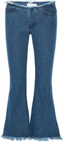 Marques Almeida Marques' Almeida - Cropped Frayed Low-rise Flared Jeans - Mid denim