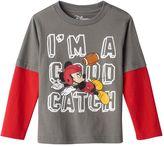 "Disney Disney's Mickey Mouse Toddler Boy ""I'm A Good Catch"" Mock-Layered Long Sleeve Tee"