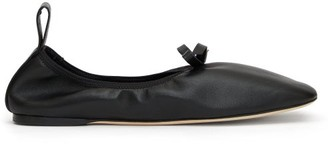 Loewe Square-toe Elasticated Leather Ballet Flats - Womens - Black