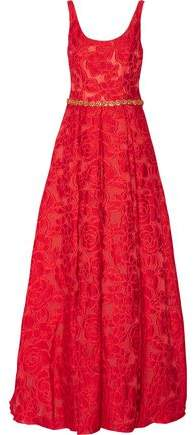 Marchesa Crystal-Embellished Brocade Gown