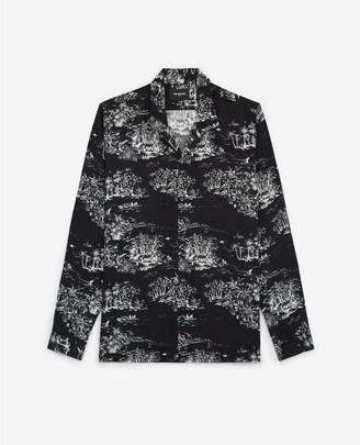 The Kooples Black printed shirt with Hawaiian collar