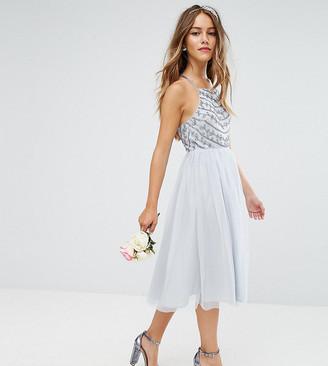 ASOS DESIGN Petite delicate beaded strappy back midi dress