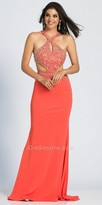 Dave and Johnny Paisley Beaded Cut Out Halter Prom Dress