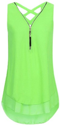 HARRYSTORE Women's Scallop Hem Tank Top Summer Casual V-Neck Sleeveless Chiffon Shirt Criss Cross Zip Up Blouse Tops (UK 14