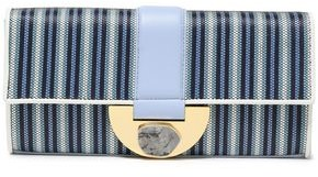 Diane von Furstenberg Embellished Leather-trimmed Striped Faux Raffia Clutch