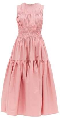 Roksanda Isilda Ruched Cotton Poplin Midi Dress - Womens - Pink