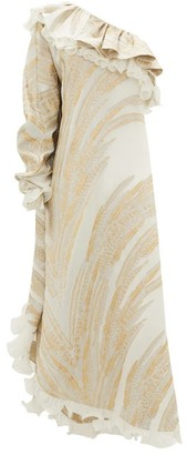 Dundas One-shoulder Feather-jacquard Crepe Dress - White