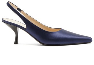 The Row Bourgeoise Satin Slingback Pumps - Womens - Dark Blue