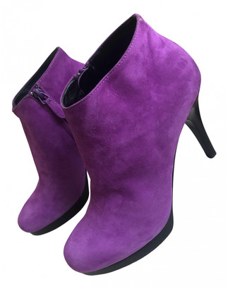 Balenciaga Purple Suede Ankle boots