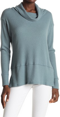 ALL IN FAVOR Cowl Neck Waffle Knit Tunic Sweater