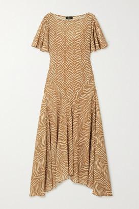De La Vali Olivia Asymmetric Tiger-print Georgette Maxi Dress - Taupe