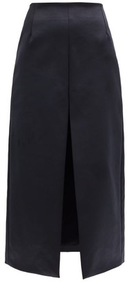 Dodo Bar Or Lia Front-slit A-line Satin Skirt - Black