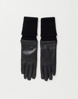 ASOS DESIGN touch screen leather glove with long knitted rib trim in black