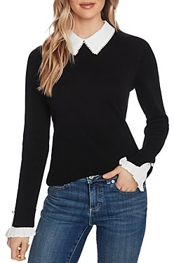CeCe Embellished Collared Sweater