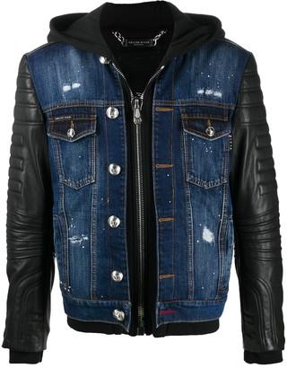 Philipp Plein Leather Panel Denim Jacket