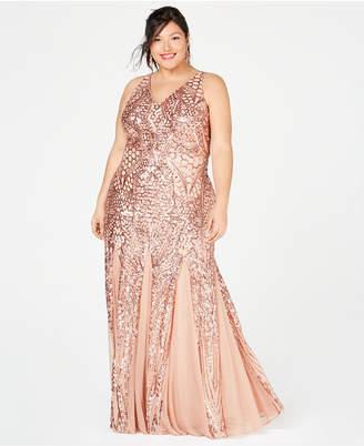 Plus Size Sequin Dress Gold - ShopStyle