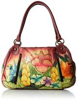 Anuschka Handpainted Leather Ruched Large Satchel