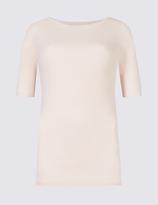 M&S Collection Pure Cotton Slash Neck Half Sleeve T-Shirt