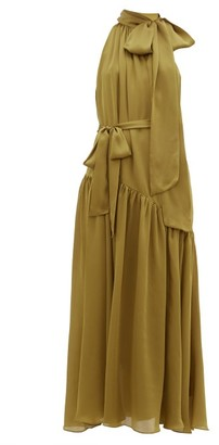 Zimmermann Super Eight Pussy-bow Silk-charmeuse Maxi Dress - Khaki
